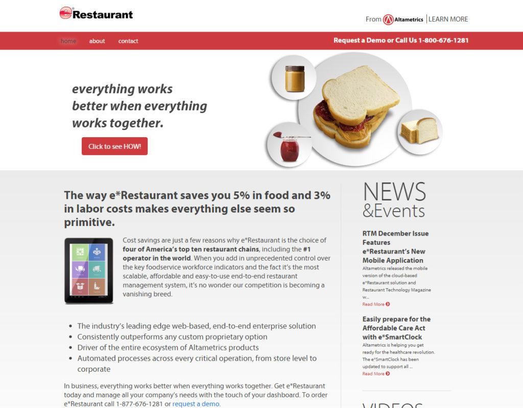 erestaurant home page