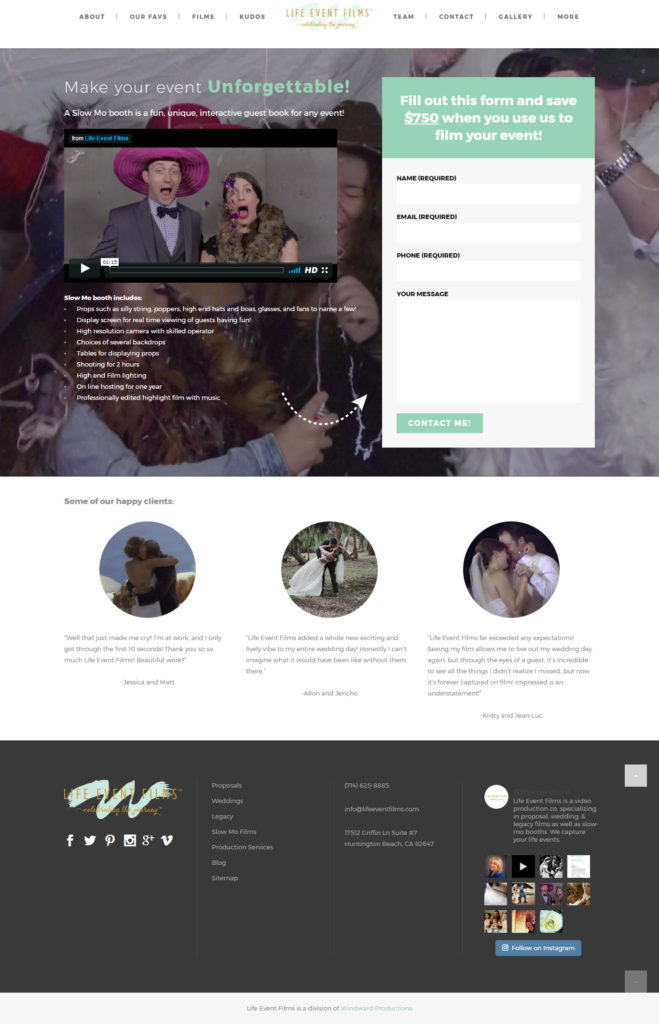 Life Event Films landing page