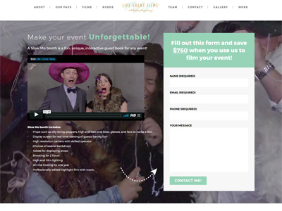 Life Event Films landing page featured